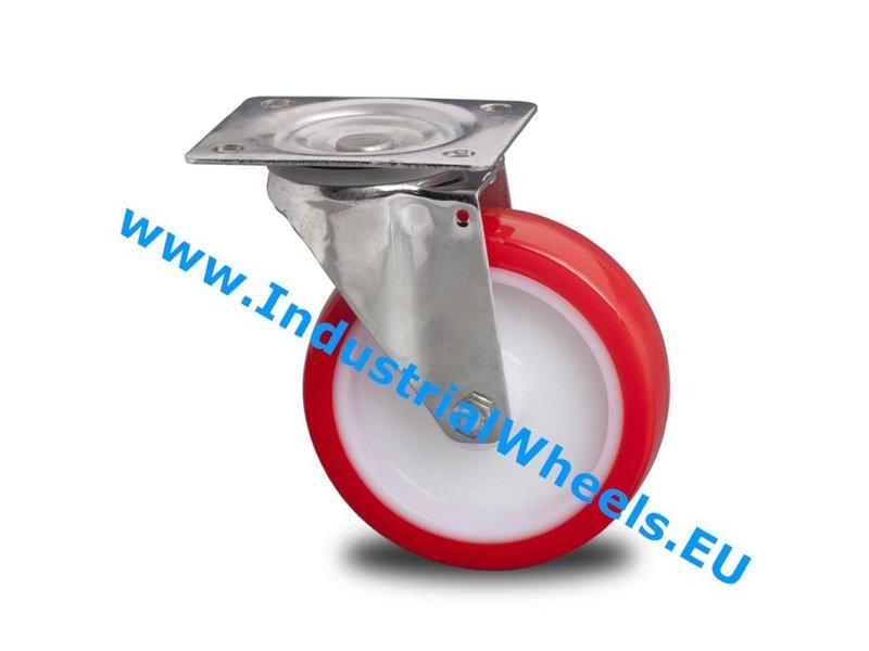 Rustfri hjul Drejeligt hjul Rustfrit stål Blachy, Pladebefæstigelse, Polyuretan, glideleje, Hjul-Ø 150mm, 280KG