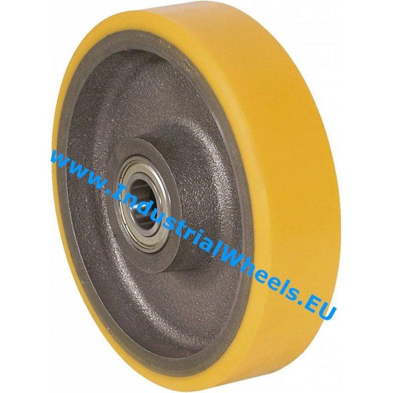 Hjul, Ø 250mm, Vulkaniseret Polyuretan, 1400KG