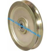 V groove wheel, Ø 120mm, Solid steel, 600KG