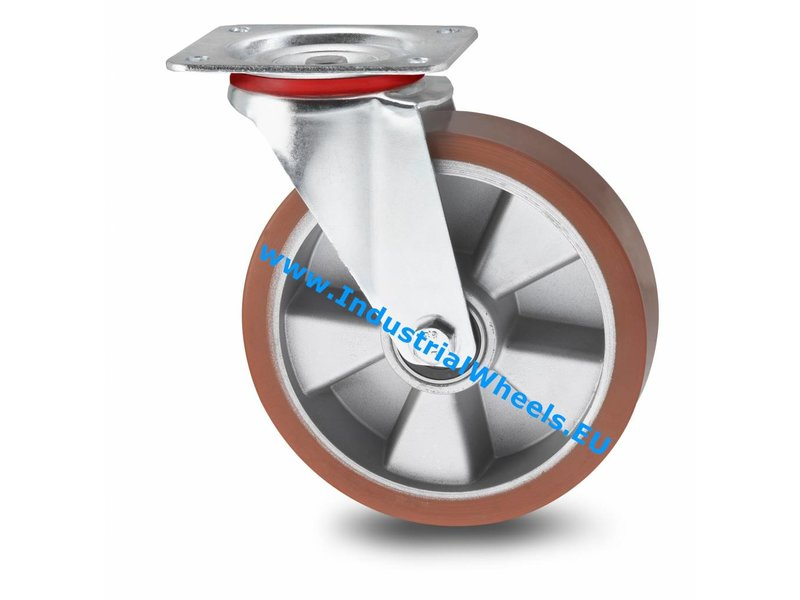 Transporthjul Drejeligt hjul Stål, Pladebefæstigelse, Vulkaniseret Polyuretan, DIN-kugleleje, Hjul-Ø 160mm, 300KG