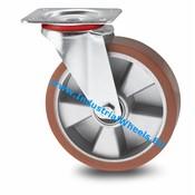 Drejeligt hjul, Ø 200mm, Vulkaniseret Polyuretan, 400KG