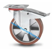 Swivel caster with brake, Ø 200mm, Vulcanized Polyurethane tread, 400KG