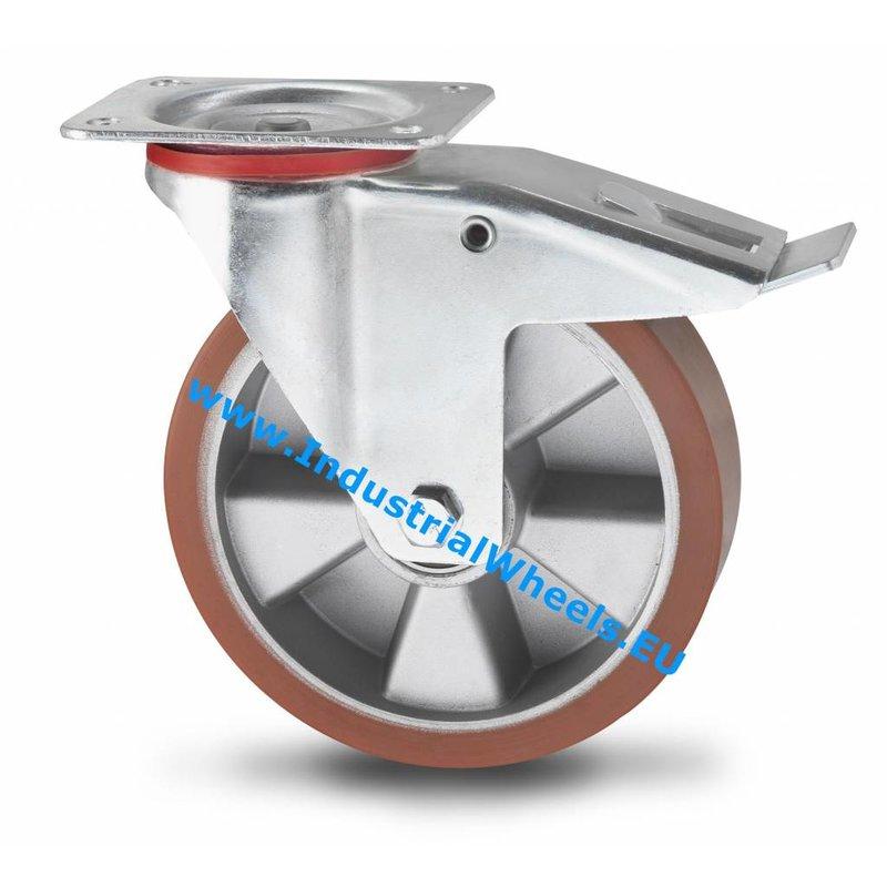 Drejeligt hjul bremse, Ø 200mm, Vulkaniseret Polyuretan, 400KG