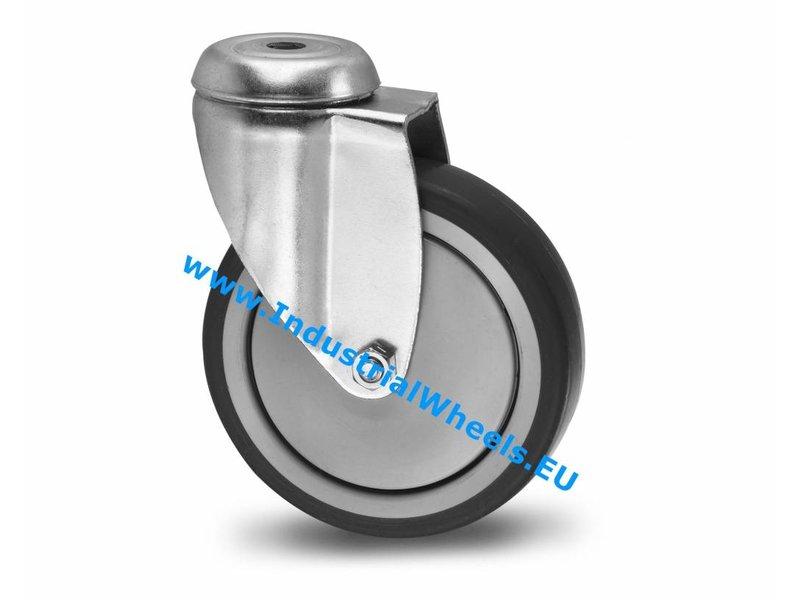 Apparathjul Drejeligt hjul Stål, Centerhul, grå termoplastisk gummi afsmitningsfri, DIN-kugleleje, Hjul-Ø 125mm, 100KG