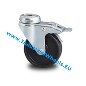 Swivel caster with brake, Ø 50mm, Polypropylene Wheel, 40KG