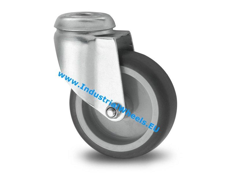 Apparathjul Drejeligt hjul Stål, Centerhul, grå termoplastisk gummi afsmitningsfri, glideleje, Hjul-Ø 75mm, 75KG