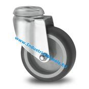 Drejeligt hjul, Ø 100mm, grå termoplastisk gummi afsmitningsfri, 80KG
