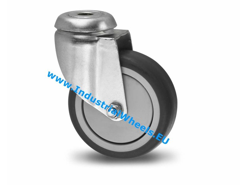 Apparathjul Drejeligt hjul Stål, Centerhul, grå termoplastisk gummi afsmitningsfri, DIN-kugleleje, Hjul-Ø 75mm, 75KG