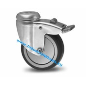 Swivel caster with brake, Ø 100mm, thermoplastic rubber grey non-marking, 80KG