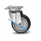 Drejeligt hjul, Ø 50mm, grå termoplastisk gummi afsmitningsfri, 50KG