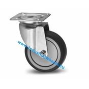 Swivel caster, Ø 100mm, thermoplastic rubber grey non-marking, 80KG