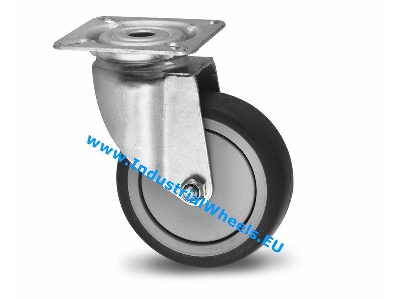 Apparathjul Drejeligt hjul Stål, Pladebefæstigelse, grå termoplastisk gummi afsmitningsfri, DIN-kugleleje, Hjul-Ø 100mm, 80KG