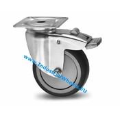 Drejeligt hjul bremse, Ø 75mm, grå termoplastisk gummi afsmitningsfri, 75KG