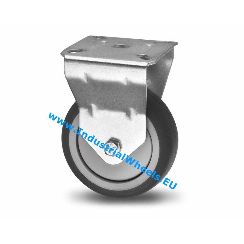 Fast hjul, Ø 100mm, grå termoplastisk gummi afsmitningsfri, 80KG