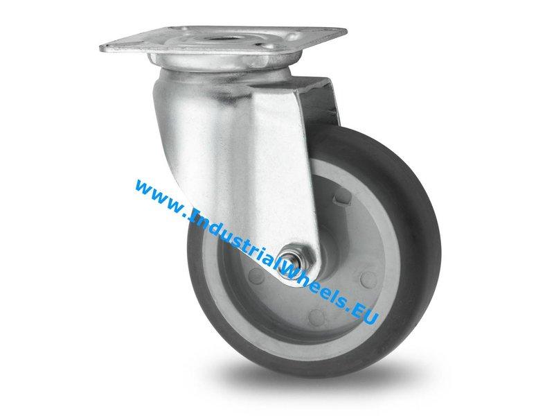 Apparathjul Drejeligt hjul Stål, Pladebefæstigelse, grå termoplastisk gummi afsmitningsfri, glideleje, Hjul-Ø 50mm, 50KG