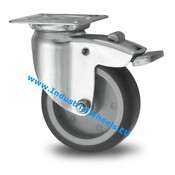 Swivel caster with brake, Ø 50mm, thermoplastic rubber grey non-marking, 50KG