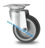 Apparathjul Drejeligt hjul Stål, Pladebefæstigelse, grå termoplastisk gummi afsmitningsfri, glideleje, Hjul-Ø 75mm, 75KG
