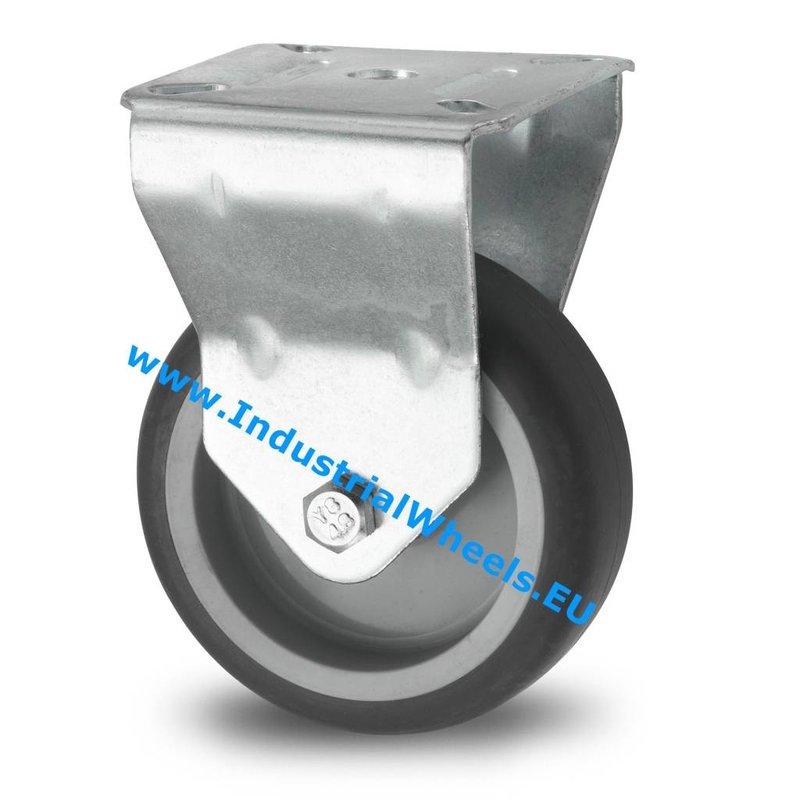 Fast hjul, Ø 75mm, grå termoplastisk gummi afsmitningsfri, 75KG