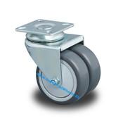 Drejeligt hjul, Ø 75mm, Polypropylen Hjul, 100KG