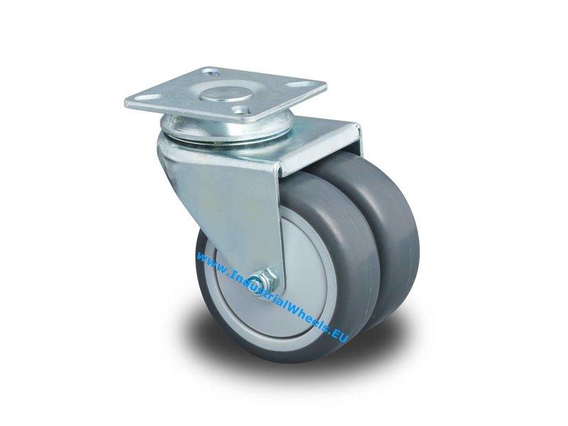Apparathjul Drejeligt hjul Stål, Pladebefæstigelse, Polypropylen Hjul, glideleje, Hjul-Ø 75mm, 100KG