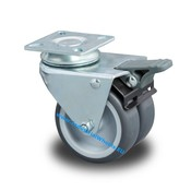 Swivel caster with brake, Ø 75mm, Polypropylene Wheel, 100KG
