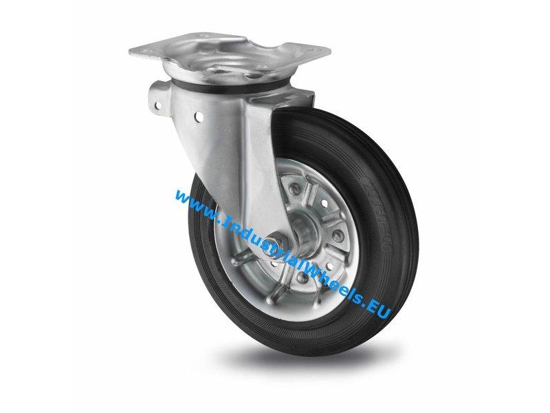 Transporthjul Drejeligt hjul Stål, Pladebefæstigelse, Massiv sort gummi, rulleleje, Hjul-Ø 200mm, 250KG