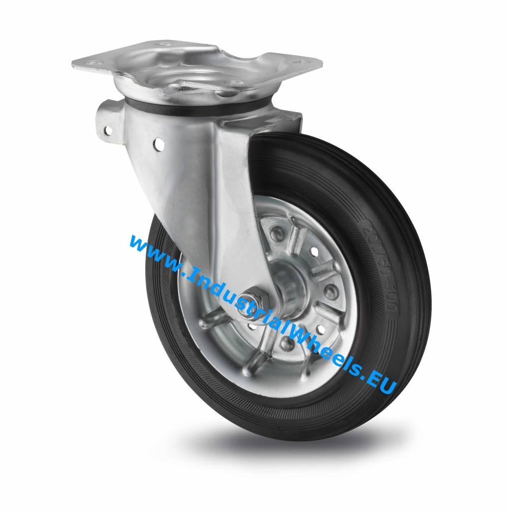 Rueda giratoria 200mm goma negra 250kg ruedas a los - Pletina de acero ...