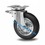 Drejeligt hjul bremse, Ø 200mm, Massiv sort gummi, 250KG