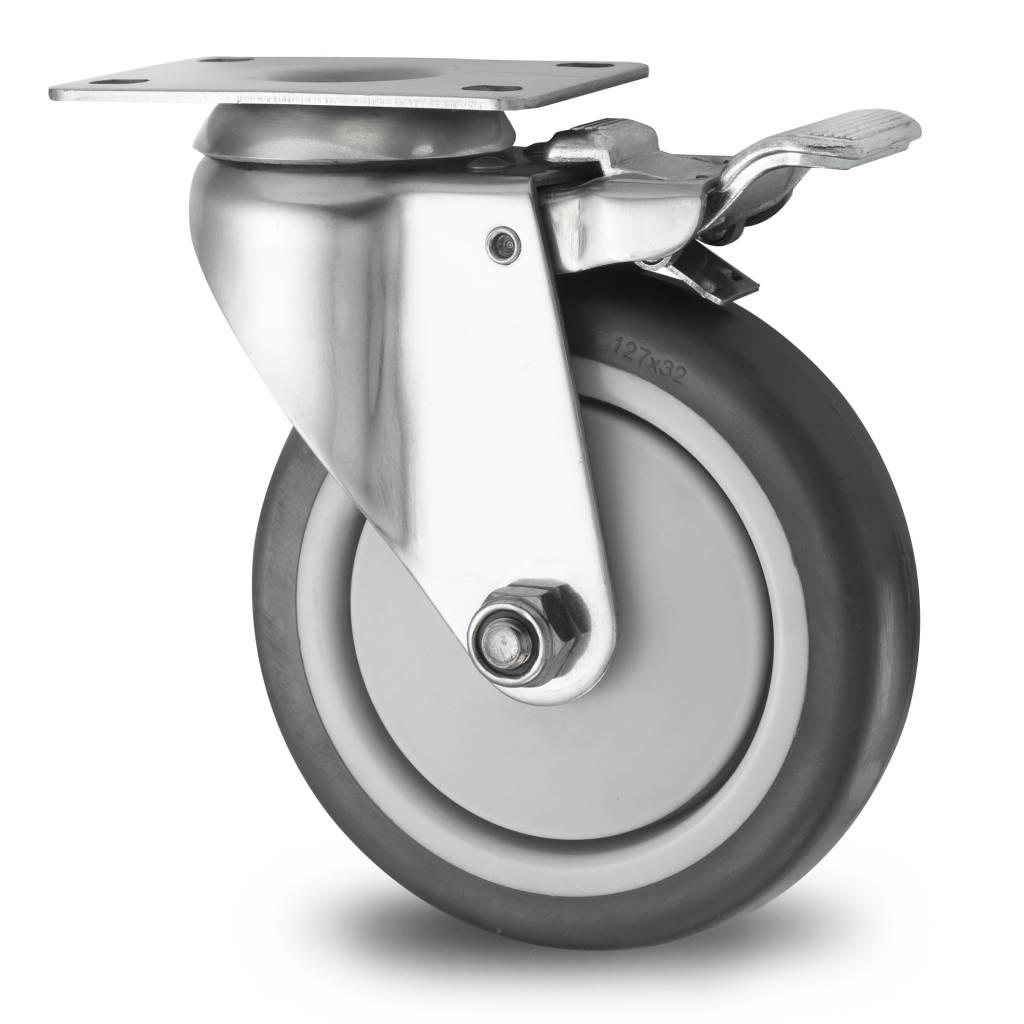 Ruota girevole con freno 125mm gomma termoplastica - Ruote a scomparsa per mobili ...