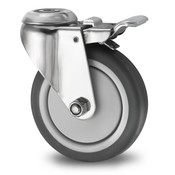 Swivel caster with brake, Ø 125mm, thermoplastic rubber grey non-marking, 80KG