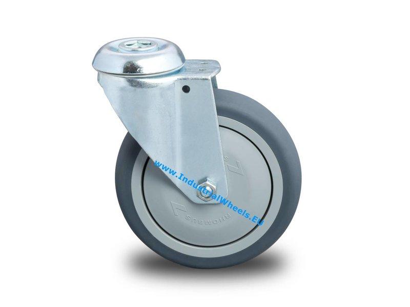 Apparathjul Drejeligt hjul Stål, Centerhul, grå termoplastisk gummi afsmitningsfri, DIN-kugleleje, Hjul-Ø 80mm, 100KG