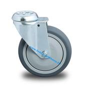 Drejeligt hjul, Ø 125mm, grå termoplastisk gummi afsmitningsfri, 100KG
