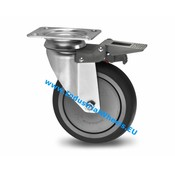 Drejeligt hjul bremse, Ø 125mm, grå termoplastisk gummi afsmitningsfri, 100KG