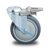 Lenkrolle mit Feststeller, Ø 100mm, Thermoplastischer Gummi grau-spurlos, 100KG
