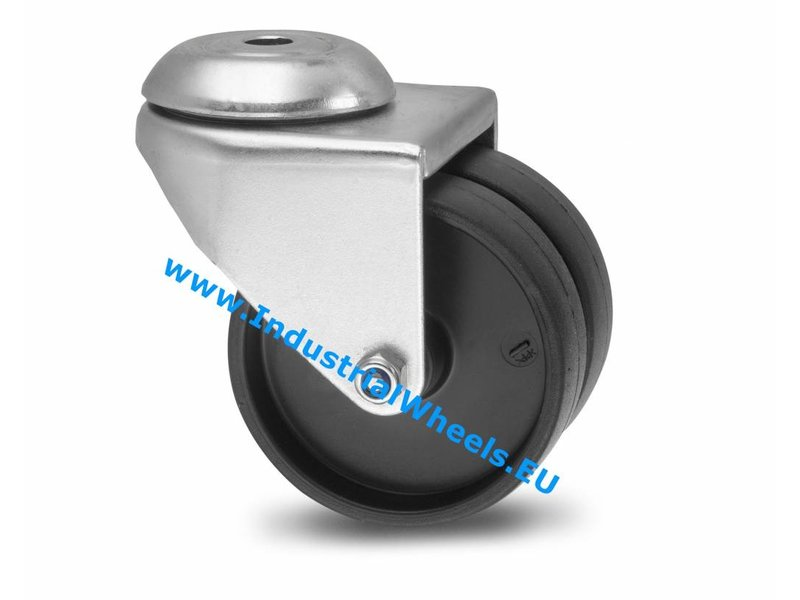 Apparathjul Drejeligt hjul Stål, Centerhul, Polypropylen Hjul, glideleje, Hjul-Ø 75mm, 100KG