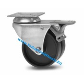 Swivel caster with brake, Ø 50mm, Polypropylene Wheel, 80KG