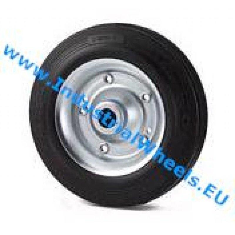 Hjul, Ø 200mm, Massiv sort gummi, 250KG