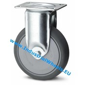Fixed caster, Ø 80mm, thermoplastic rubber grey non-marking, 100KG