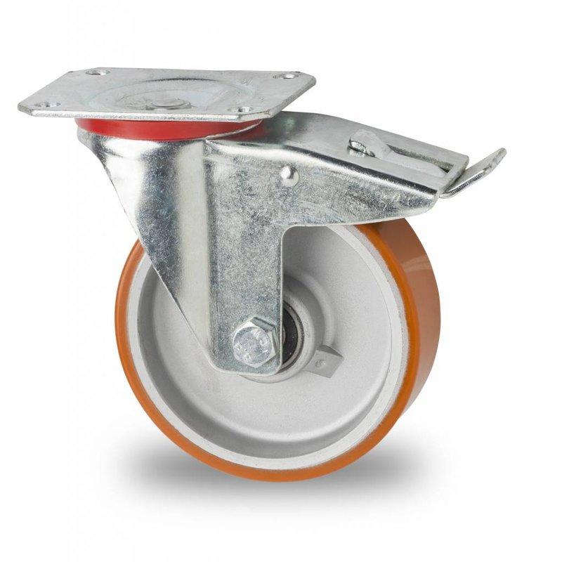 Drejeligt hjul bremse, Ø 125mm, Vulkaniseret Polyuretan, 200KG