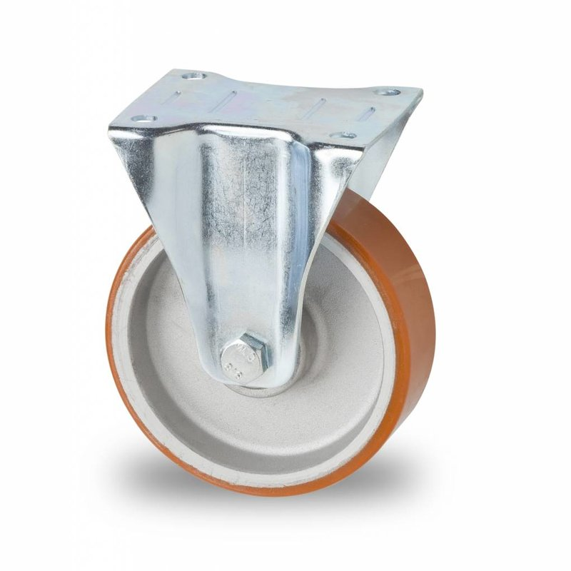 Fast hjul, Ø 125mm, Vulkaniseret Polyuretan, 200KG