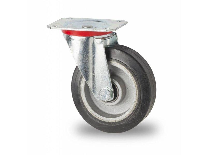 Transporthjul Drejeligt hjul Stål, Pladebefæstigelse, Elastisk gummi, DIN-kugleleje, Hjul-Ø 125mm, 200KG