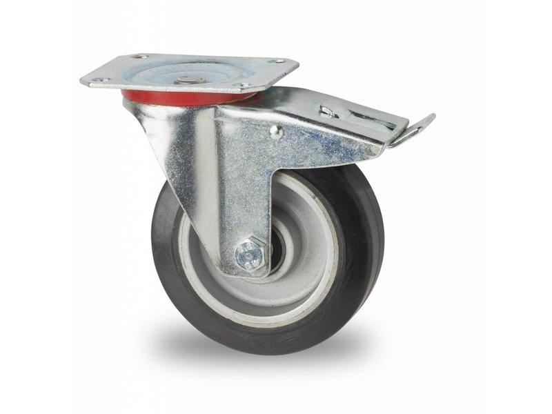 roulette pivotante avec blocage 125mm lastique 200kg roues et roulettes vulkollan. Black Bedroom Furniture Sets. Home Design Ideas