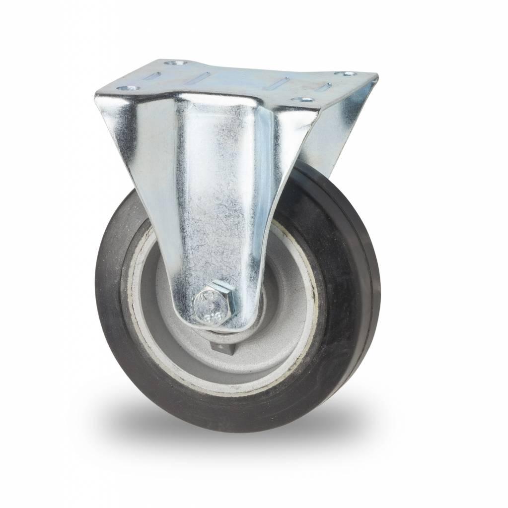 Rueda fija 125mm goma el stica 200kg ruedas a los - Pletina de acero ...