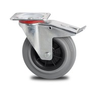 drejelig hjul  med bremse, Ø 100mm, massiv grå gummi, 80KG