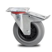drejelig hjul  med bremse, Ø 80mm, massiv grå gummi, 65KG