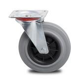 Transporthjul drejelig hjul  af Stål, pladebefæstigelse, massiv grå gummi, rulleleje, Hjul-Ø 200mm, 230KG
