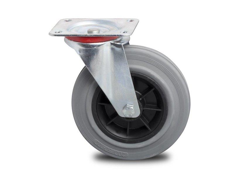 Transporthjul drejelig hjul  af Stål, pladebefæstigelse, massiv grå gummi, rulleleje, Hjul-Ø 125mm, 130KG