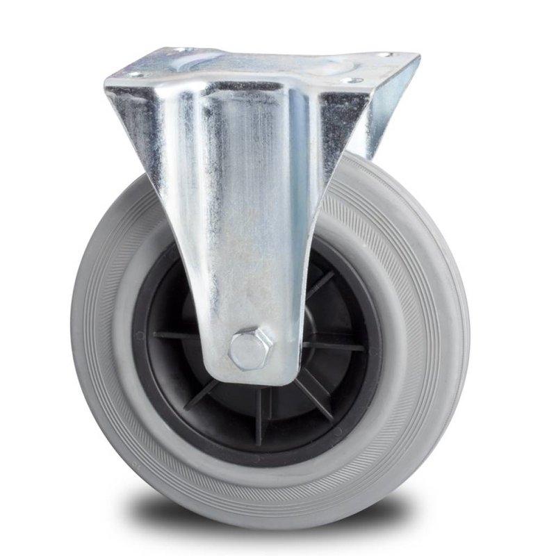 Fast hjul, Ø 125mm, massiv grå gummi, 130KG