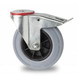 Transporthjul drejelig hjul  med bremse af Stål, boltmontering, massiv grå gummi, rulleleje, Hjul-Ø 200mm, 230KG