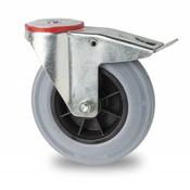 swivel castor with brake, Ø 125mm, rubber, gray, 130KG